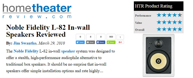 Noble Fidelity L-82 In-wall Speakers Reviewed By Jim Swantko