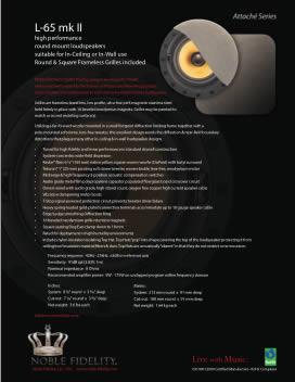 L-65 mk II In Ceiling / In Wall Loudspeaker Brochure