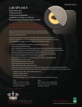L-85 SPS mk II In Ceiling / In Wall Loudspeaker Brochure