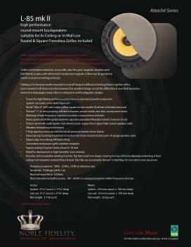 L-85 mk II In Ceiling / In Wall Loudspeaker Brochure